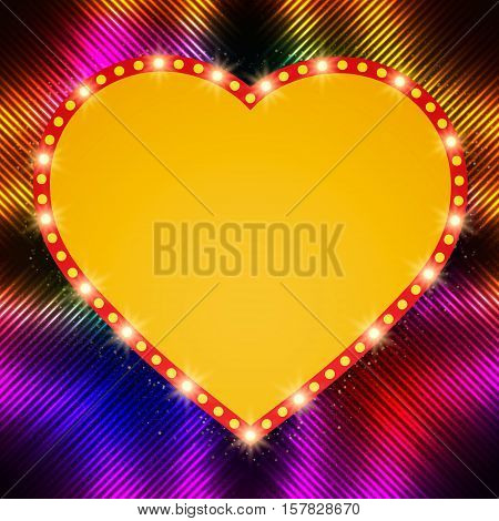 Shining Background With Retro Heart Banner