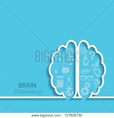 Creative left brain and right brain Idea concept background in paper style with flat set business icon. vector illustration.