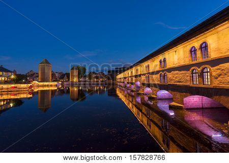 medieval bridge Ponts Couverts and barrage Vauban of Strasbourg, France