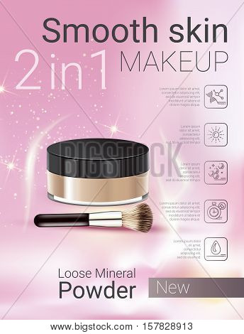 Velvet Loose Powder ads. Vector Illustration with makeup loose mineral powder product.