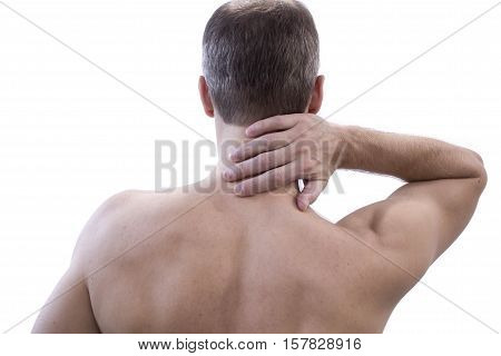 Pain in the neck. Man with backache. Muscular male body. Isolated white background with red dot