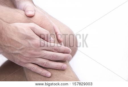 man with knee pain and feeling bad in medical office. Osteoarthritis Knee osteophyte subchondral sclerosis. massage joint pain