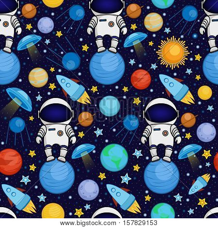Colorful seamless cartoon space pattern with astronauts, rockets, planets, stars on starry night sky background, vector illustration. Cute and bright space travel seamless pattern