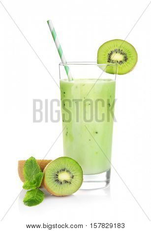 Kiwi milk shake on white background