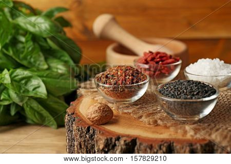 Composition with different spices, closeup
