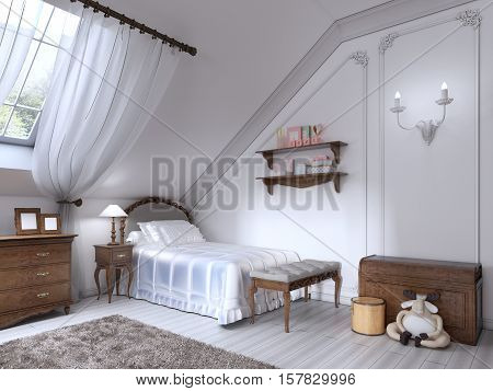 Luxury Classic Bed In The Nursery With Brown Drawers And Bedside Table.