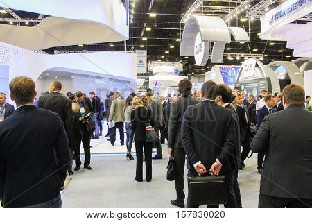 St. Petersburg, Russia - 5 October, A crowd of people at the gas forum, 5 October, 2016. Petersburg Gas Forum which takes place in Expoforum.