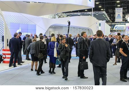 St. Petersburg, Russia - 5 October, Different gas forum visitors, 5 October, 2016. Petersburg Gas Forum which takes place in Expoforum.