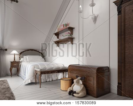 Classic Bed In A Child's Bedroom With Night Table, Lamp And Toy Chest.