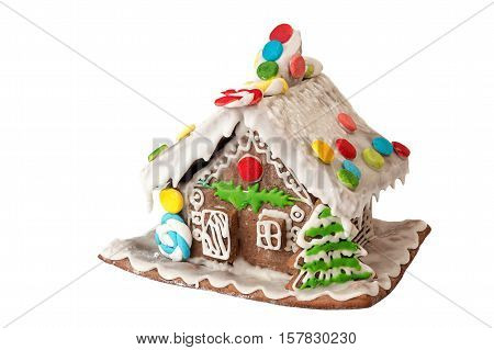 Christmas Gingerbread House Isolated On White Background.