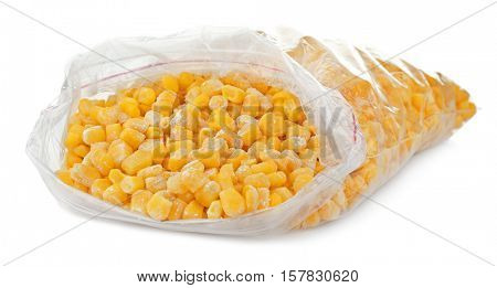 Frozen niblets on white background