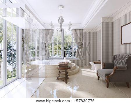 Luxury Bathroom In Classic Style.