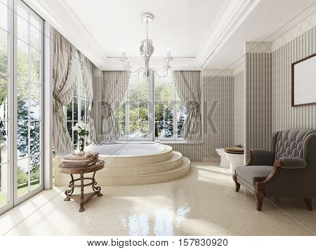 Bathroom In Luxury Neo-classical Style With Sinks Tubs And A Large Round Bath.