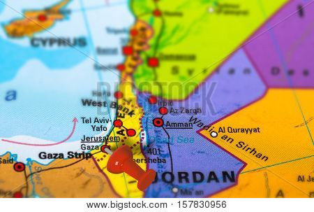Gaza in Palestine pinned on colorful political map of Middle East. Geopolitical school atlas. Tilt shift effect. poster