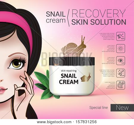 Skin Repairing Snail Cream ads. Vector Illustration with Manga style girl and snail cream container.