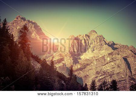 Gruppo Del Cristallo Mountain Range At Sunny Summer Morning