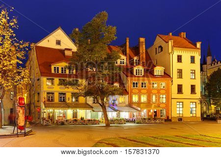 Livu Square or Livu laukums with old houses in Old Town of Riga at night, Latvia