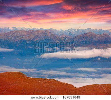 Exotic Summer Sunrise In The Italian Dolomites.