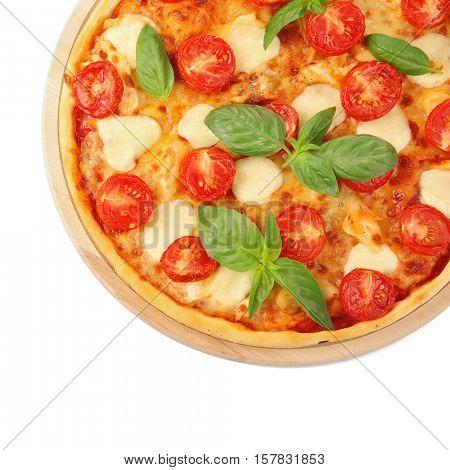 Pizza Margarita isolated on white