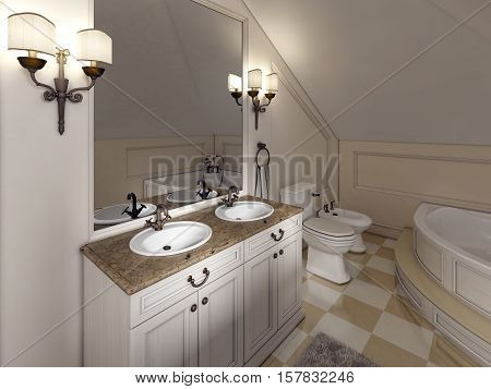 White Bath Sink With Large Mirror And Sconces On The Sides Of The Bathroom Provence.