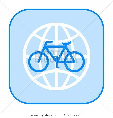 Bicycle and globe blue icon isolated on white background