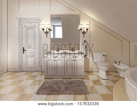 Beautiful And Bright Bathroom In Provence Style With Beige Furniture.