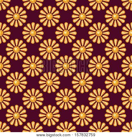 Seamless pattern with yellow precious gem Topaz in shape of shining sun from different cuts on dark claret background. Vector illustration