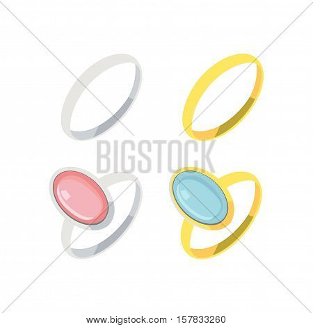 Silver and gold rings. Wedding rings. Rings with semiprecious stones. Vector illustration.