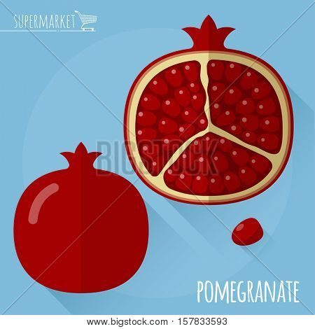Pomegranate.  Long shadow flat design vector icon.