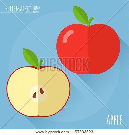 Apple.  Long shadow flat design vector icon.