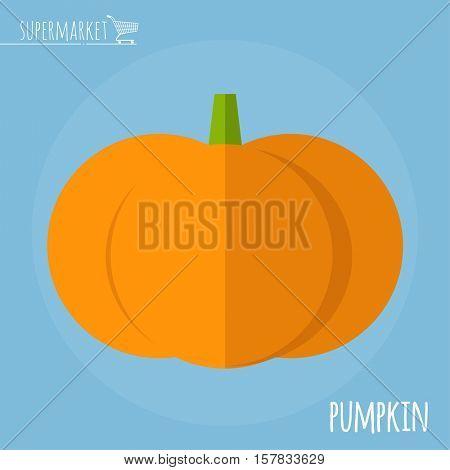 Pumpkin.  Long shadow flat design vector icon.