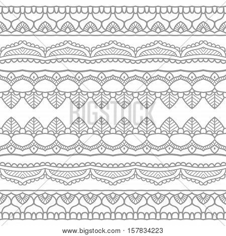 Beautiful ornate black mehndy border background. Orient motif. Vlack striped background