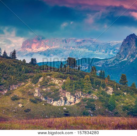 Fantastic Landscape On The Sass De Stria Mountain Range.