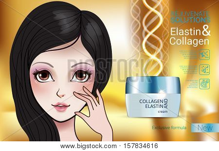 Collagen solution intensive cream ads. Vector Illustration with Manga style girl and Collagen and Elastin cream container. poster