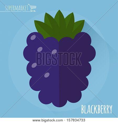 Blackberry.  Long shadow flat design vector icon.