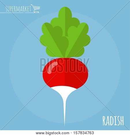 Radish.  Long shadow flat design vector icon.