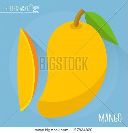 Mango.  Long shadow flat design vector icon.