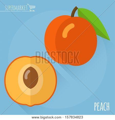 Peach.  Long shadow flat design vector icon.