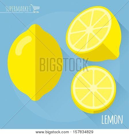 Lemon.  Long shadow flat design vector icon.