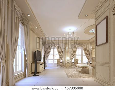 Design Luxury Bedroom In Beige Tones, With Large Windows And Classical Curtains.