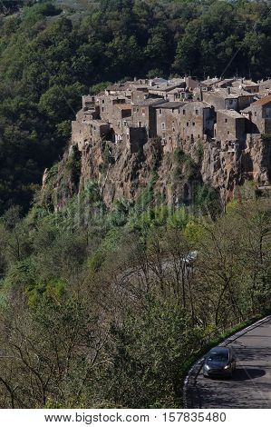 overview of Calcata ancient town in Italy