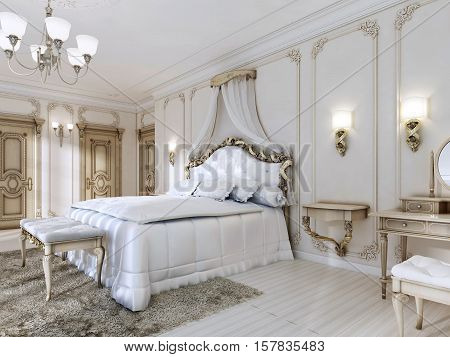 Luxurious Bedroom In White Colors In A Classic Style.