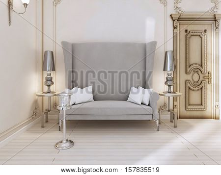 A Classic Designer Sofa With A High Back In The Bedroom.
