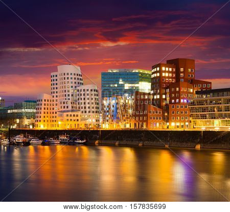 Colorful Spring Sunset Of Rhein River At Night In Dusseldorf