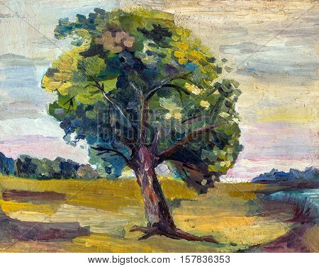 An oil painting on canvas of a seasonal autumn rural landscape with colorful old pear tree, growing alone on a bright sunny meadow near the forest.