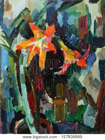 Oil painting. Still life with with beautiful flowers impressionism