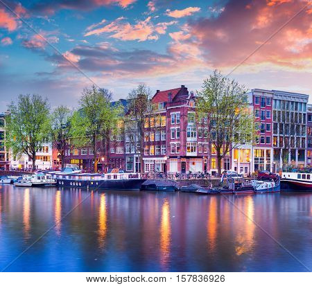 Colorful Spring Sunset On The Canals Of Amsterdam
