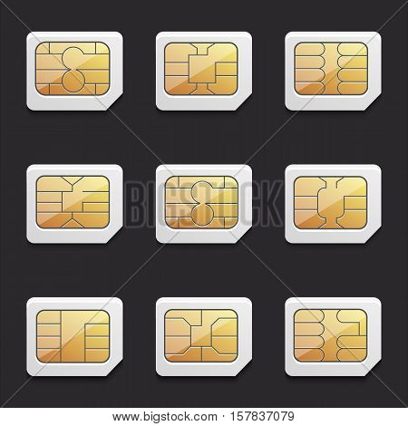 collection of vector images of micro SIM cards with different chips