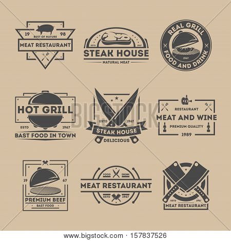 Steak house vintage isolated label set vector illustration. Meat restaurant symbols. Real grill icon. Premium beef, natural meat logo. Food and drink. Best of nature, premium quality, delicious sign. BBQ logo. Barbecue icon set. Grill logo.