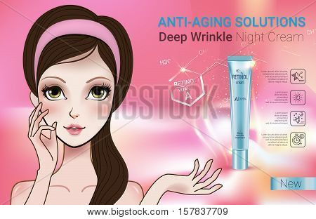 Retinol anti-aging cream ads. Vector Illustration with Manga style girl and Vitamin A cream tube.